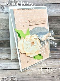 A Soft and Subtle Birthday Card highlighting the stunning 3D peony in the Peony Garden Suite. This suite has a beautiful old world feel about it/Happy CraftingKaren Birthday Cards, Happy Birthday, Peonies Garden, Colored Highlights, Old World, Poppies, Stampin Up, Bee, Peony