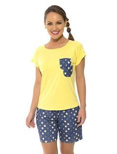 Pijama curto de viscose stretch