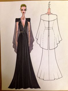 Sketch of a NIKOLAKI Fall 2014 gown--black silk satin-back crepe gown with silk chiffon cape and jeweled waist