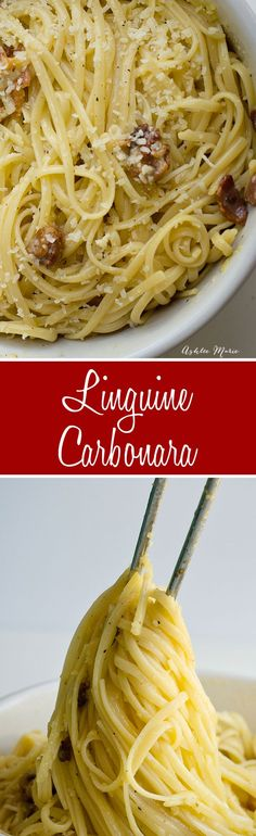 A quick and easy pasta dinner this carbonara is 5 ingredients and takes 10 mins to make - easy and delicious - made with American Beauty pasta which is now Non-GMO project verified [ad]
