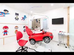 Dental clinic paedodontic design idea was to design a pediatric dental clinic with soothing yet playful ambiance. This clinic provides highly specialized treatment in Kids Dentistry, Orthodontic (Braces), Dental Implants and Smile Designing. Dental Office Decor, Medical Office Design, Clinic Interior Design, Clinic Design, Cl Design, Dental Design, Smile Design, Hospital Design, Design Projects