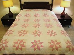 Vintage-Hand-Sewn-All-Cotton-KINGS-CROWN-Flaming-Sun-QUILT-84-x-70