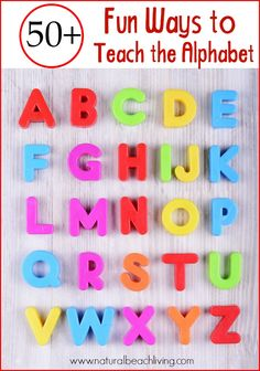 50 Fun Ways to Teach the Alphabet with Games Hands on learning books crafts Sensory Play Free Printables Tips and ideas on How to Teach the Alphabet Alphabet Games, Teaching The Alphabet, Alphabet Crafts, Alphabet Books, Teaching Letter Sounds, Teaching Abcs, Letter Crafts, Preschool Literacy, Preschool Themes