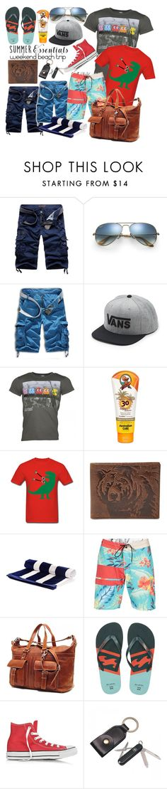 """summer men's wear essentials"" by birdiemacpac on Polyvore featuring Ray-Ban, Vans, Australian Gold, FOSSIL, Volcom, Billabong, Converse, Alden, men's fashion and menswear"