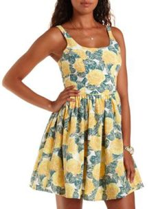 Yellow Combo Sleeveless Floral Print Skater Dress by Charlotte Russe