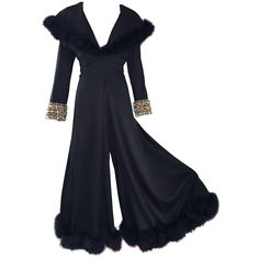 Unbelievable 1970s Couture Black Jersey   Feathers Wide Leg Palazzo Jumpsuit 70s | From a collection of rare vintage suits, outfits and ensembles at https://www.1stdibs.com/fashion/clothing/suits-outfits-ensembles/