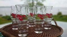Set of 5 Red Lobster Glasses Libbey/ Hurricane Glasses/ Vintage Barware