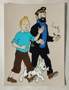 Tintin Milou Snowy and Captain Haddock Painting Tintin by Cansupo