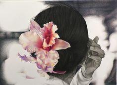"Drawing: ""Giada"", mixed technique (chiaroscuro with pencils, colour pencils, graphitint) on paper, 2015.  My pages: www.facebook.com/limaelabor   www.google.com/laborlimaedicristinanisini   #draw #disegnare #drawing #disegno #art #arte #artist #artista #work #pencildrawing #chiaroscuro #colourpancils #pencils #graphitint #mixedtechnique #pastelli #carandache #matita #woman #thailandia #thailand #fiore #flower #orchidea #orchid #hand #hair #mano #capelli"