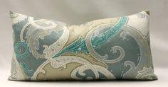 High End Designer Teal White Khaki Grayish-Green Stunning Paisley Linen 11x20  Decorative Throw Toss Pillow Cover