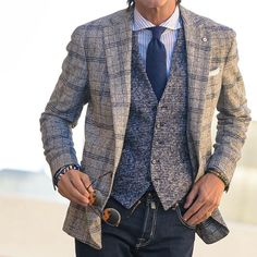 Nice layering combo here.  Great window pane jacket  #dapper #style #layers