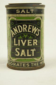 Vintage Andrews Liver Salts Tin for by TheLotAntiquesandArt Apothecary Pharmacy, Apothecary Bottles, Vintage Tins, Vintage Labels, Vintage Medicine Cabinets, Tin Man, Vintage Medical, Mirror Set, Tin Boxes