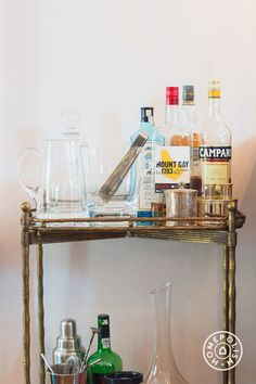 A Boerum Hill Brownstone - The bar cart is vintage. by Homepolish Brooklyn https://www.homepolish.com/mag/boerum-hill-brownstone