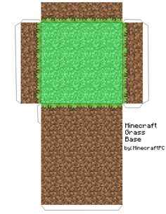 Minecraft ideas party and other: Papercraft Grass Block Base Minecraft Party, Slime Minecraft, Minecraft Mobs, Minecraft Cake, Minecraft Crafts, Minecraft Templates, Minecraft Blueprints, Diy And Crafts, Paper Crafts