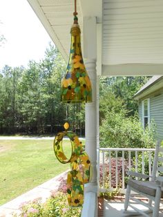 Wind Chime, Black Eyed-Susan, made from recycled wine bottle -  fashioned  into a Wine-Chime!