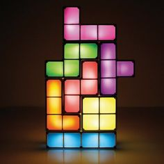 Light up the night with a game of Tetris! Check out our Tetris Lamp! Desk Light, Lamp Light, Night Light, Light Up, Mood Light, Diy Pinterest, Table Led, Led Desk Lamp, Geek Decor