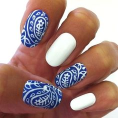 blue and white PAISLEY NAILS