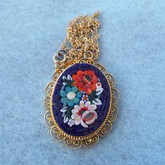 Italian Mosaic Pendant 1950s Lovely Floral Design!