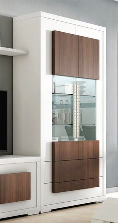 Modern display cabinet with 2 drawers and 2 doors with LED lighting for modern living rooms - Bar Interior, Wardrobe Interior Design, Flat Interior Design, Wardrobe Design Bedroom, Bedroom Bed Design, Bedroom Cupboard Designs, Bedroom Furniture Design, Kitchen Room Design, Home Room Design