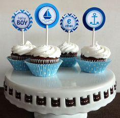 Nautical Cupcake Toppers - Baby Shower Decorations