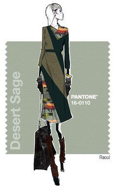 Nicole Miller - Stormy Weather, Oak Buff, Desert Sage - Fall 2015 Pantone Fashion Color Report