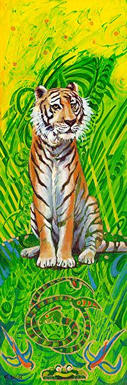 "Tiger by Nancee Jean Busse Acrylic ~ 18"" x 6""Original Contemporary Wildlife Painting ""Tiger"" by Colorado Artist Nancee Jean Busse"