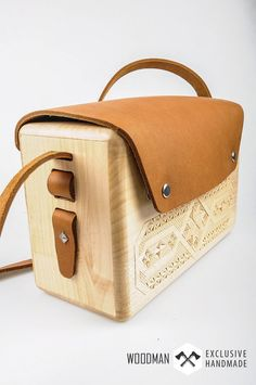Wooden Buckle Handbag Messenger bag  Wooden bag  by WoodmanShop