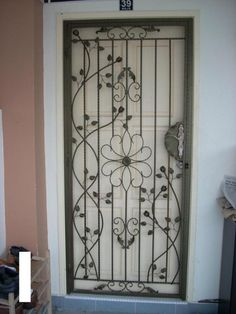 Pin Door Grill Main Gate Staircase Balcony Window Outdoor Fencing - All About Balcony Home Window Grill Design, House Window Design, Grill Door Design, Door Gate Design, Main Door Design, Front Door Design, House Main Door, Wrought Iron Gate Designs, Door Grill