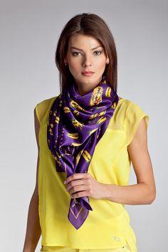 FS-303319 - Платок MCQ BY ALEXANDER MCQUEEN - 8 300.00 руб. - Коллекция: Осень-зима Материал: 100%шелк Производитель: PRC Размер: one size Цвет: Разноцветный Бренд: Англия Купить Ways To Wear A Scarf, How To Wear, Silk Neck Scarf, Purple Scarves, Neck Scarves, Satin, Scarf Styles, Womens Scarves, Hijab Fashion
