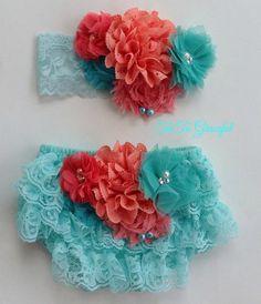 Newborn lace bloomer set...baby headband...newborn photo prop... cake smash set... diaper cover