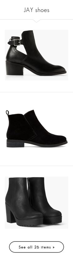 """JAY shoes"" by strawberryfelton on Polyvore featuring shoes, boots, ankle booties, black, black buckle boots, short boots, black buckle booties, buckle ankle booties, black ankle boots und suede ankle booties"
