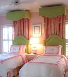 cute idea to have drapes just behind the headboard