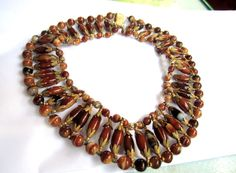 Miriam Haskell Necklace Cleopatra Tiger Eye Bead 1940s Vintage Jewelry REDUCED. $375.00, via Etsy.