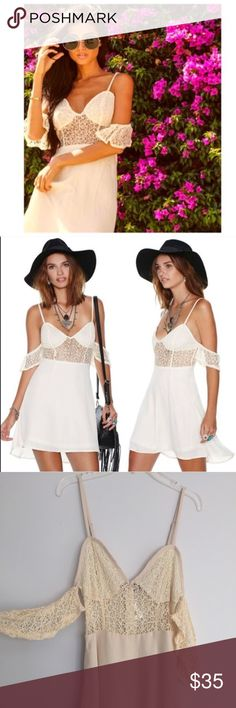 "☀️NWT Ivory FLL-like Nasty Gal Dress See it through in this sun dress with semi sheer detailing! It has a crochet lace bodice, frilly lace arm cuffs, and a low-dipping v-neckline. Sweeten up in the most badass way possible! Partially lined, back zip closure.  *Polyester/Nylon  *26""/66cm bust  *35""/89cm length  *Model is wearing size small  ☀️not FLL but in a similar style. From nasty gal! Beautiful versatile dress, more definitely more of an ivory than white☀️ For Love and Lemons Dresses…"