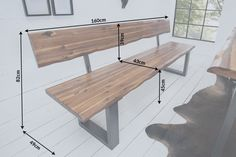 Solid tree trunk bench GENESIS with back acacia solid wood tree edge bench sled base Industrial Finish Dinning Room Table Diy, Diy Table, Dining Bench, Deck Seating, Outdoor Seating, Outdoor Decor, Metal Furniture, Furniture Design, Outdoor Furniture