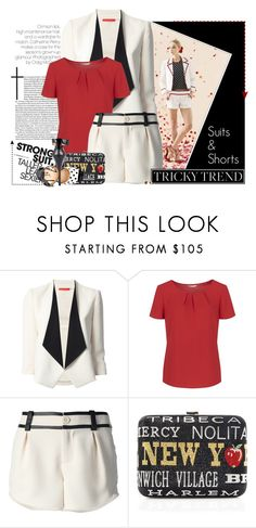 """""""Contrasted - Suits With Shorts!"""" by curvacious ❤ liked on Polyvore featuring Alice + Olivia, Planet, Judith Leiber, Stella & Dot, Luichiny, Summer, blackandwhite, contrast, shortsuit and careerwear"""