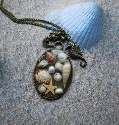 Mermaid Necklace Nautical Jewelry 06 Real Mini Seashells Starfish Seahorse Pearl Resin Vintage