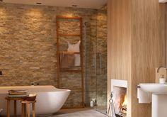Natursteinwand - Wandgestaltung im Badezimmer 11 - [LIVING AT HOME]