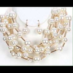 Multi strand chunky pearl bib necklace and earring Set. 14 inch long, 1 1/2 inch drop. Jewelry Necklaces