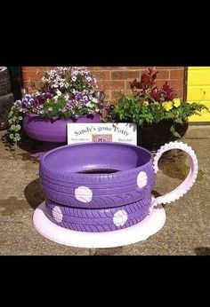 q teacup planters made from old tires, container gardening, gardening, painting, repurposing upcycling, Teacup planter made out of tires