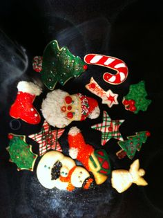 Our Christmas Cookie tradition - these are the cookies from 2011...  Aunt Chick's cut-outs, the best!