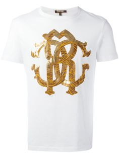 ROBERTO CAVALLI metallic monogram logo T-shirt. #robertocavalli #cloth #t-shirt