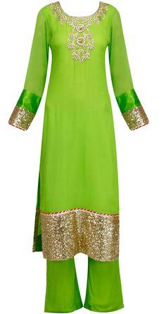 Lime green straight kurta set with fuschia leheriya dupatta by SONAL KALRA AHUJA. Shop at https://www.perniaspopupshop.com/whats-new/sonal-kalra-ahuja-3