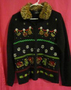 Medium Crystal Kobe Black Christmas Sweater fake fur collar free shipping #CrystalKobe #Cardigan