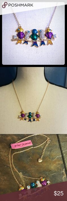 Betsey Johnson bird necklace Gold necklace with beautiful colors for fall.  Birds lined up on a branch... how cute!! Adjustable length. Betsey Johnson Jewelry Necklaces