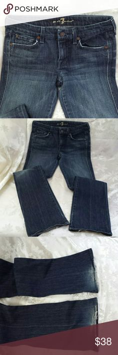 "7 For All Mankind ""A"" pocket jeans Great pair of jeans,  medium wash with  button and zip closure with ,8inch rise. 98%cotton 2 % spandex.  There is wear on the back of cuffs and price is reflected.  Inseam approximately 33. 7 For All Mankind Jeans Flare & Wide Leg"