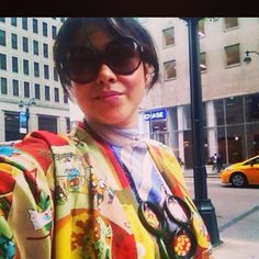 In a #vintagejapanesesilkkimono with a playful colorful #japaneseprint  over a #vintagesilktop ( #geometricprint #asymmetric #stripes ) accessorized by #vintagebakelitenecklace (#bakelitenecklace / #polkabakelite ) & #dvfsunglasses ( #polka #tortoiseshellsunglasses / #roundsunglasses .....and an NYC street as my fav mobile prop for selfies :)