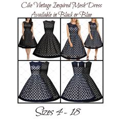 """This is a lovely Vintage Look Formal MeshDress  Available in sizes 4 – 18 (Small – 2XL).  This dress is made from 100% polyester and available in black only.    It has a round neck line, sleeveless arms, polka dot, translucent mesh and soft comfortable fabric. Available in black or blue.    This item ships within seven (7) days. 📦      Also available on our website at www.UyleesBoutique.com in our """"Dresses"""" section, as well as our """"Vintage Dresses"""" section. 👗      Measurements Are As…"""