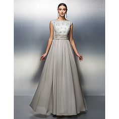 Sheath / Column Mother of the Bride Dress Floor-length Sleeveless Chiffon with Beading / Lace / Sash / Ribbon / Ruching – USD $ 89.99