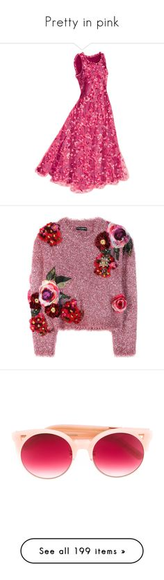 """""""Pretty in pink"""" by dutifully-enchanting-gladiator ❤ liked on Polyvore featuring dresses, pink dress, tops, sweaters, jumpers, pink, applique top, dolce gabbana sweaters, dolce gabbana top and purple sweater"""